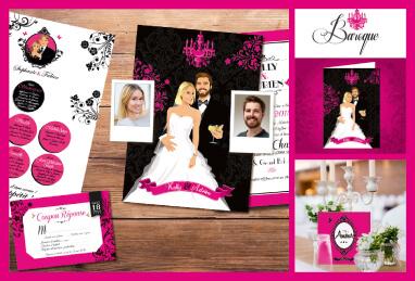 mariage baroque faire-part de mariage noir blanc et rose fuschia Faire-part, invitation, carton repas, save the date, menu, plan de table, coupon réponse - chic vintage et romantique.