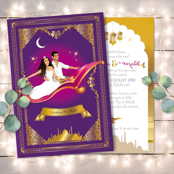 Mariage oriental 1001 nuits - faire-part original, invitation ou save the date sur tapis volant comme Aladdin et Shéhérazade. Portraits dessin caricature - blanc or et violet Bollywood chic vintage et romantique.