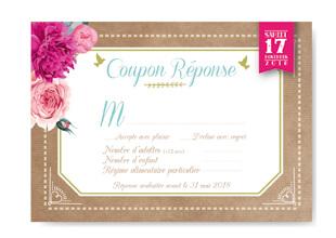 Coupon réponse mariage original thème fleurs nature roses bleu poudré vintage et graphique. Coupon kraft bohème chic vintage et romantique
