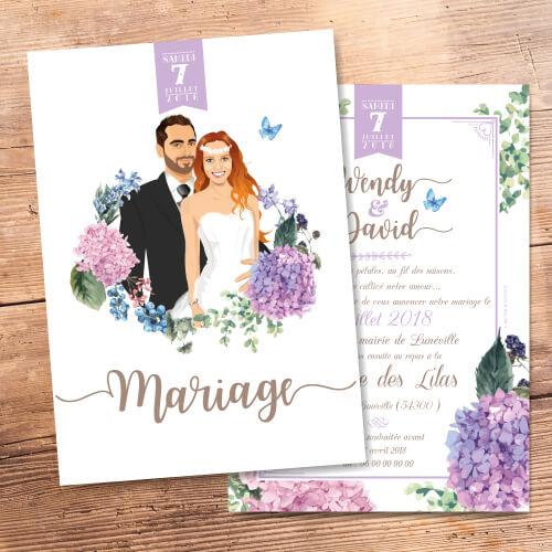 Faire-part mariage original thème fleurs nature bohème champêtre avec lilas hortensia, jardin vintage bucolique violet. Invitation chic vintage et romantique violet poudré et blanc.
