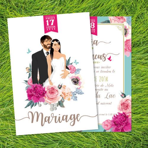Faire-part mariage original thème fleurs nature roses bleu poudré vintage et graphique. Invitation bohème chic vintage et romantique