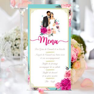 Menu repas mariage original thème fleurs nature roses bleu poudré vintage et graphique. Menu haut bohème chic vintage et romantique