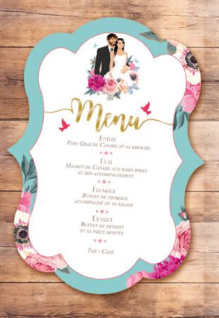 Menu repas mariage original thème fleurs nature roses bleu poudré vintage et graphique. Menu forme de découpe bohème chic vintage et romantique