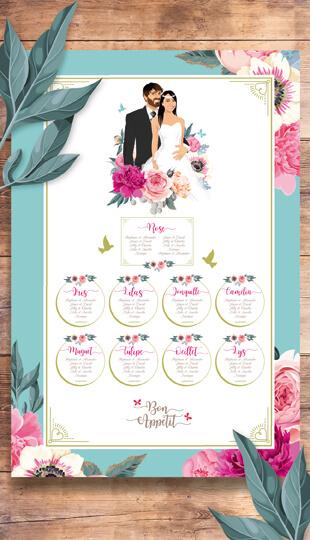 Faire-part mariage original thème fleurs nature roses bleu poudré vintage et graphique. plan de table bohème chic vintage et romantique