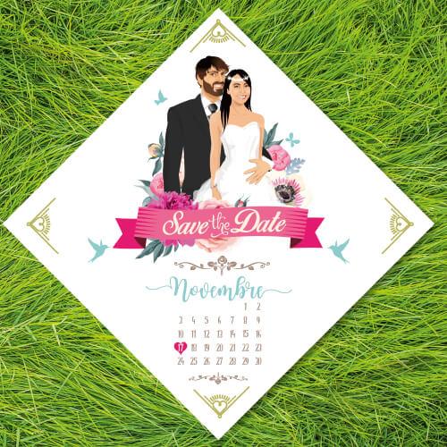 save the date mariage original thème fleurs nature roses bleu poudré vintage et graphique. invitation bohème chic vintage et romantique