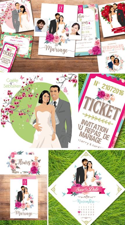 Invitez vos convives avec des fleurs.Roses rouges ou roses, lilas, orchydées, hortensia, fleurs des champs sur un faire-part,un menu, un plan de table c'est le bouquet © www.studio-postscriptum.fr