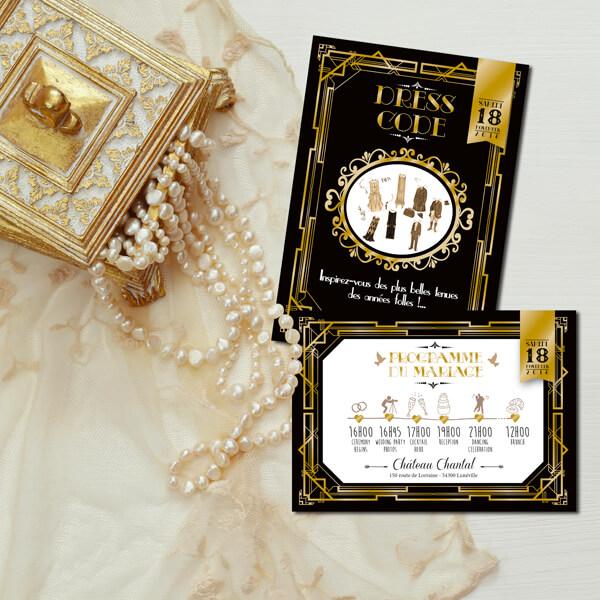 Coupons de mariage original et rétro d'après l'affiche de Gatsby le Magnifique noir et or Dress code années folles – tenue Charleston années 20