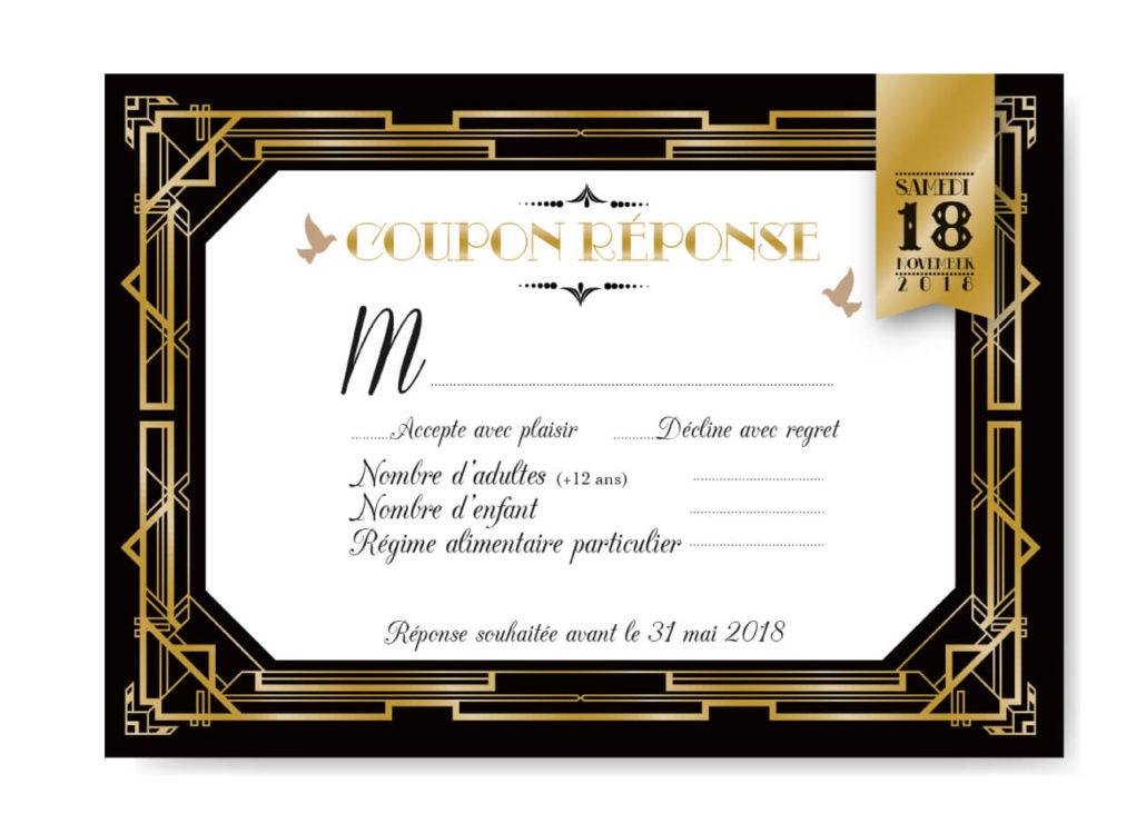 mariage Gatsby original vintage et rétro chic noir et or - coupon réponse. Chic des années folles – Charleston années 20