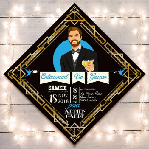 mariage Gatsby original vintage et rétro chic noir et or - invitation enterrement vie de garçon. Chic des années folles – Charleston années 20 - dessin caricature d'après photo
