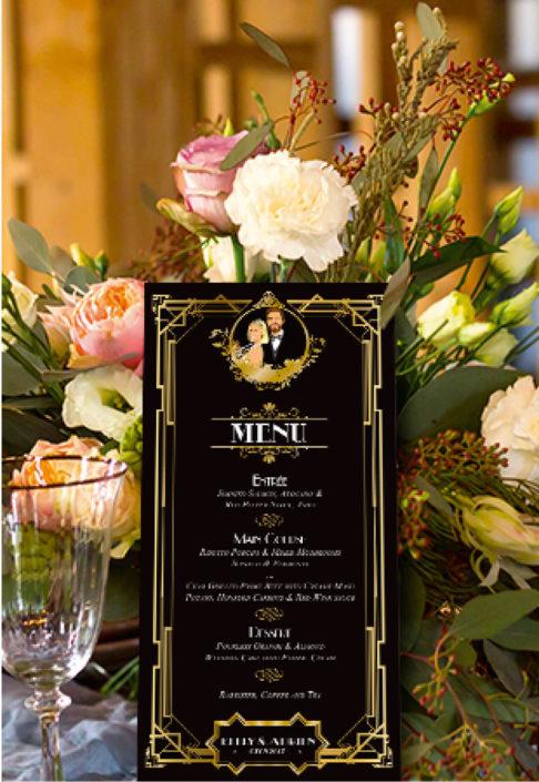 mariage Gatsby original vintage et rétro chic noir et or - menu . Chic des années folles – Charleston années 20 - dessin caricature d'après photo