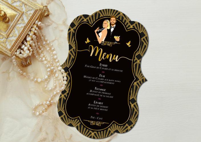 mariage Gatsby original vintage et rétro chic noir et or - menu forme de découpe. Chic des années folles – Charleston années 20 - dessin caricature d'après phot