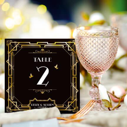 mariage Gatsby original vintage et rétro chic noir et or - numéro/ nom de table. Chic des années folles – Charleston années 20 - dessin caricature d'après photo