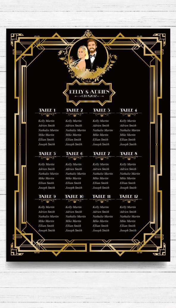 mariage Gatsby original vintage et rétro chic noir et or - plan de table de salle placement invités. Chic des années folles – Charleston années 20 - portrait dessin caricature d'après photo