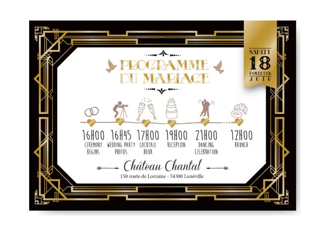 mariage Gatsby original vintage et rétro chic noir et or - timeline invitation programme. Chic des années folles – Charleston années 20