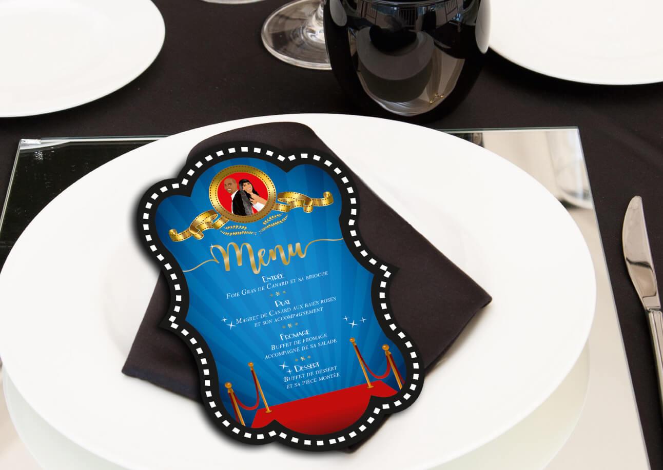 menu mariage cinéma original thème cinéma affiche film mr and mrs smith hollywood. invitation, carton repas et coupon réponse avec mr & mrs smith . Portraits dessin caricature - chic vintage retro et romantique.