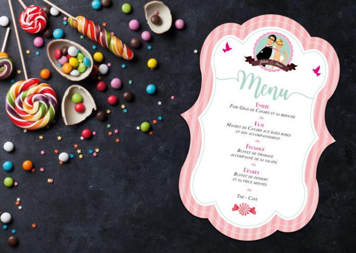 menu de mariage forme coupe original gourmandise chocolat bonbon candybar et cupcake romantique vintage poudré pois - Portraits dessin caricature - chic vintage et romantique