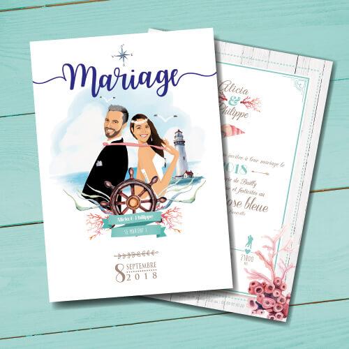 Faire-part de mariage original romantique - dessin d'après photos. Couple de marié sur fond mer océan avec coquillages et phare océanique et marin - nature chic