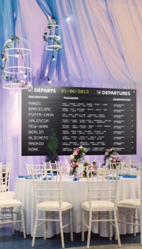 mariage - panneau embarquement aéroport- chic et réaliste - boarding departures avec destination par table. mariage thème voyage - bâche ou poster
