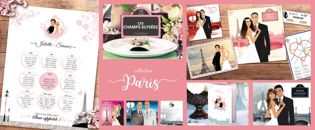 Mariage Paris Tour Eiffel romantique - Faire-part, invitation ou save the date, menu rose et gris Portraits dessin caricature - chic vintage et romantique.