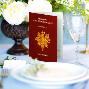 mariage - passeport menu chic et réaliste - mariage thème voyage