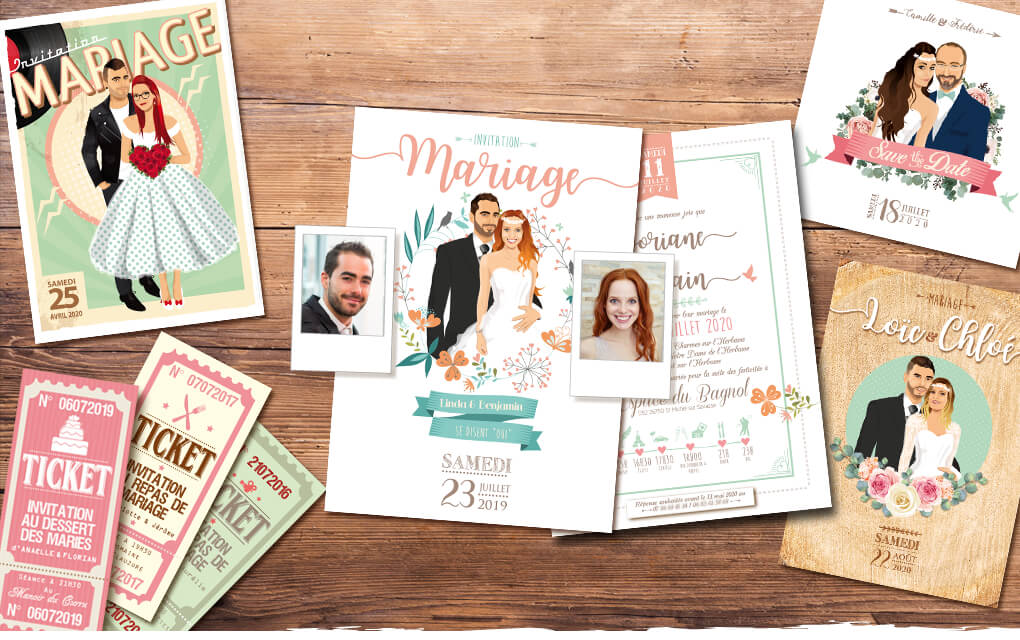Faire-part de mariage original bohème chic boho – vintage fleurs couleurs pastel Vert mint, rose poudré, rose corail, vert eau