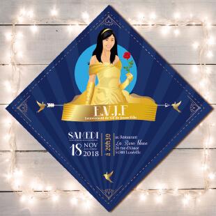 EVJF - invitation de mariage original romantique La belle et la bête - robe jaune or - conte de fée, princesse - fond or et bleu