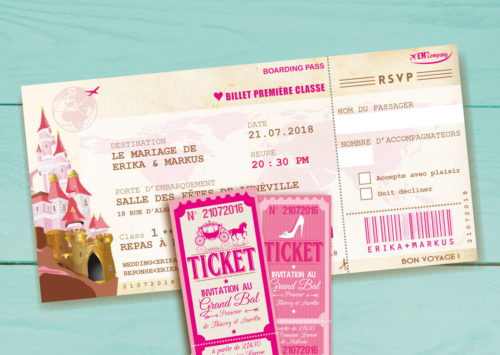Mariage princesse - ticket et billet château belle bois rose - style vintage rétro original