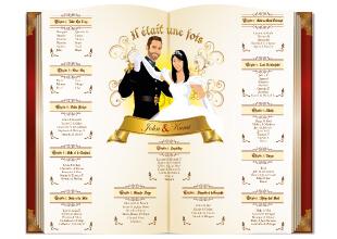 Mariage princesse - effet livre- plan de table conte de fées fond crème marron bordeaux et or style romantique vintage et rétro original