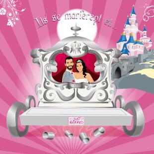 Mariage princesse - carte de remerciement original avec carrosse - ils se marièrent - style romantique vintage et rétro original