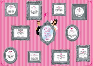 Mariage princesse - plan de table cadres miroirs rose - style romantique vintage et rétro original