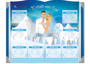 Mariage princesse - plan de table livre reine des neiges - style romantique vintage et rétro original