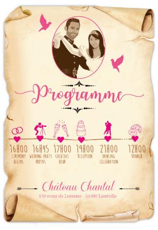 Mariage princesse - timeline parchemin - style romantique vintage et rétro original