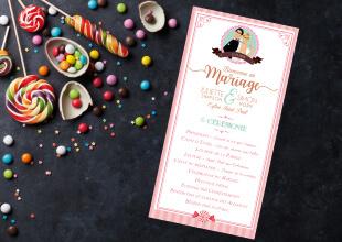 Programme cérémonie religieuse de mariage à l'église original gourmandise chocolat bonbon candybar et cupcake romantique vintage poudré pois - Portraits dessin caricature - chic vintage et romantique