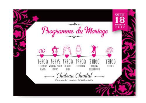 mariage original timeline programme invitation thème baroque noir blanc et fuschia avec lustres et voluptes. chic vintage rétro et romantique.