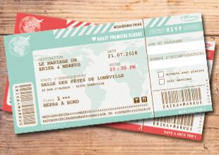 Billet d'avion mariage original- invitation sous forme de ticket d'embarquement - réaliste et chic. Couleur poudré vintage et rétro