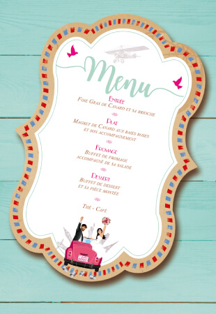 menu mariage voyage vintage rétro airmail kraft original
