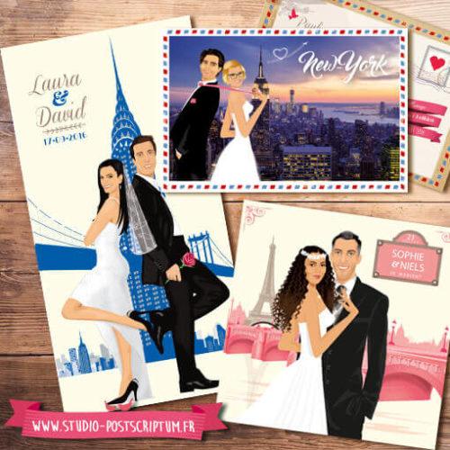 Faire-part de mariage original voyage vintage new-york paris venise rome bohème chic rétro d'après vos photos bleu crème rose poudré