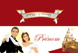 Marque-place de mariage original - thème princesse Cendrillon avec prince charmant et château de la belle au bois dormant