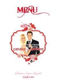 Menus de mariage original moderne personnalisable - bonbon gourmand friandise sucette sucré rose rouge