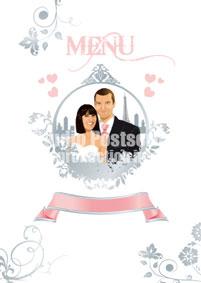 Menus de mariage original moderne personnalisable - rose poudré blanc argent coeur paris tour eiffel romantique