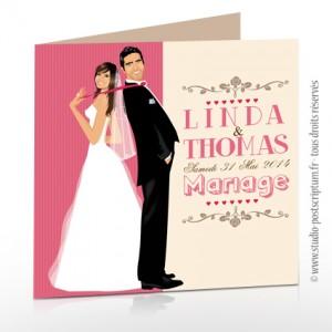 Faire-part de mariage romantique rétro original - typographie police rose clair pastel poudré beige crème