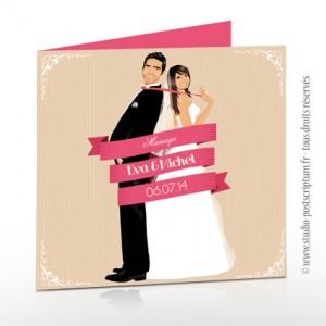 Faire-part de mariage romantique rétro original - typographie police rose poudré beige crème blanc ruban