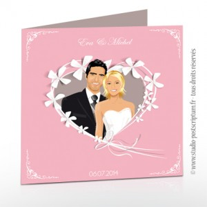Faire-part de mariage romantique rétro original - rose poudré clair pastel blanc gris taupe souris fleur ruban