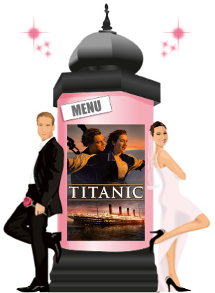 Nom de table cinéma une affiche par table sur une colonne maurice - fond rose