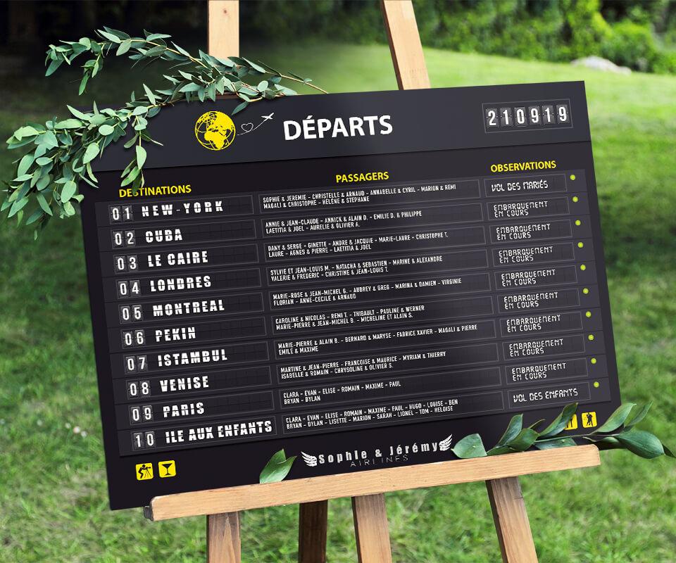 Plan de table aéroport original pour un mariage, sous forme de panneau d'embarquement (departures boarding) d'avion avec un style vintage rétro - panneau départ avions - www.studio-postscriptum.fr