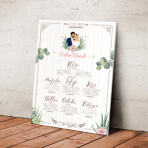 Plan de table de mariage original thème Champêtre chic fleurs vintage Couple en dessin d'après vos photos sur fond bois blanc, écriture panneau et fleurs des champs style bohème vintage et eucalyptus couleurs pastel poudré Création : studio postscriptum.