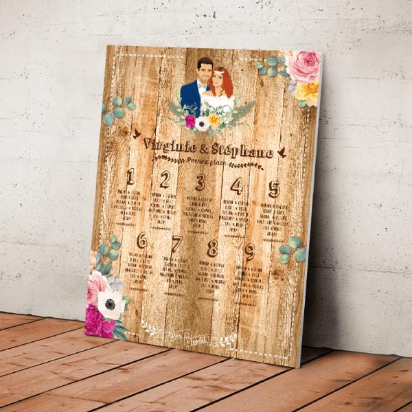 Plan de table de mariage original thème Champêtre campagne Couple en dessin d'après vos photos sur fond bois, écriture panneau et fleurs des champs jaune Création : studio postscriptum.
