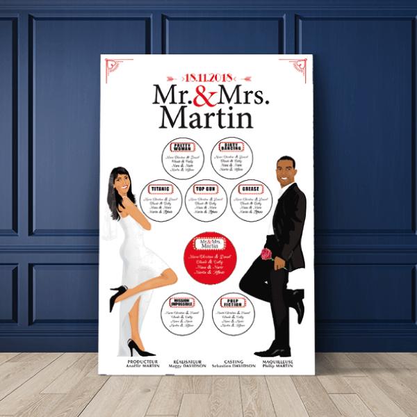 Plan de table de mariage original thème cinéma - affiche de film Mr & Mrs Couple en dessin d'après vos photos sur fond bois blanc, écriture noir et rouge avec titres de films. Création : studio postscriptum.