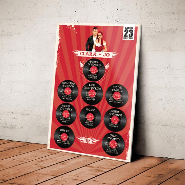 Plan de table de mariage original thème Rock rouge et noir. Couple en dessin d'après vos photos avec disques vinyles 45 tours par table. Création : studio postscriptum.
