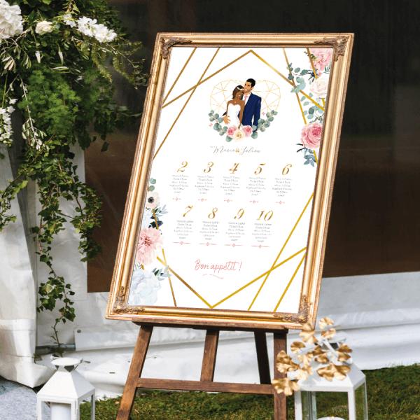 Plan de table de mariage original thème bohème chic romantique Couple en dessin d'après vos photos sur fond blanc avec fleurs des champs pastel rose et bleu et himmeli doré or Création : studio postscriptum.